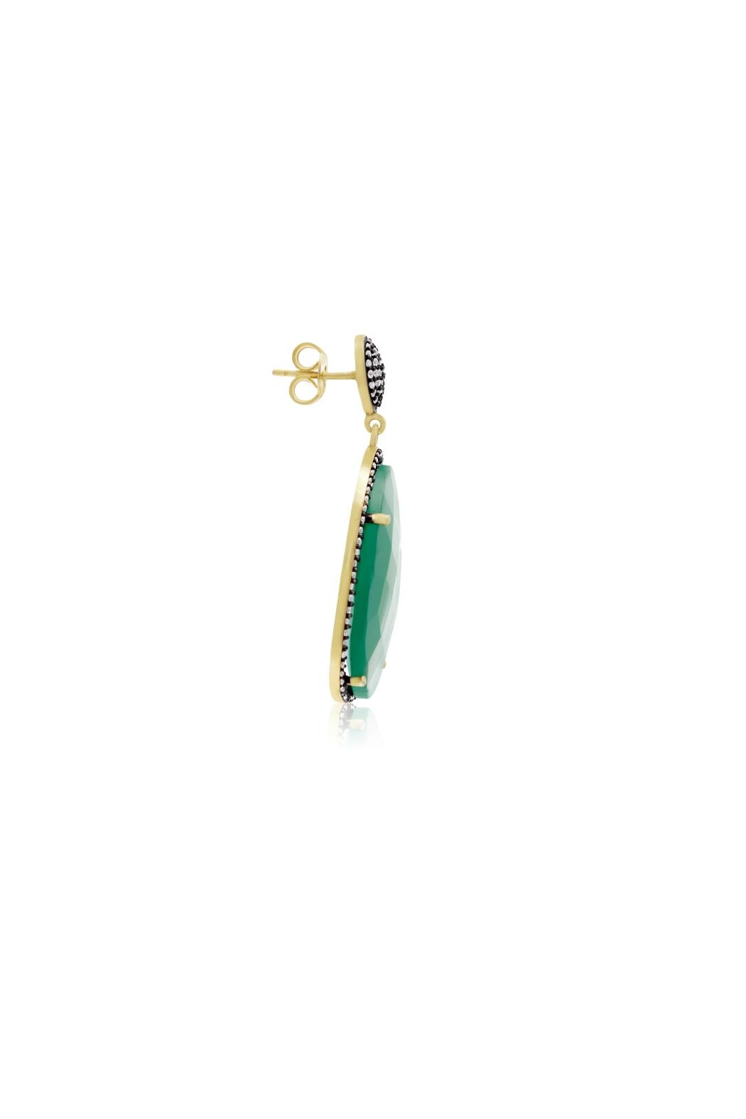 6th Borough Boutique Emerald Gemma Earrings - Back Cropped Image