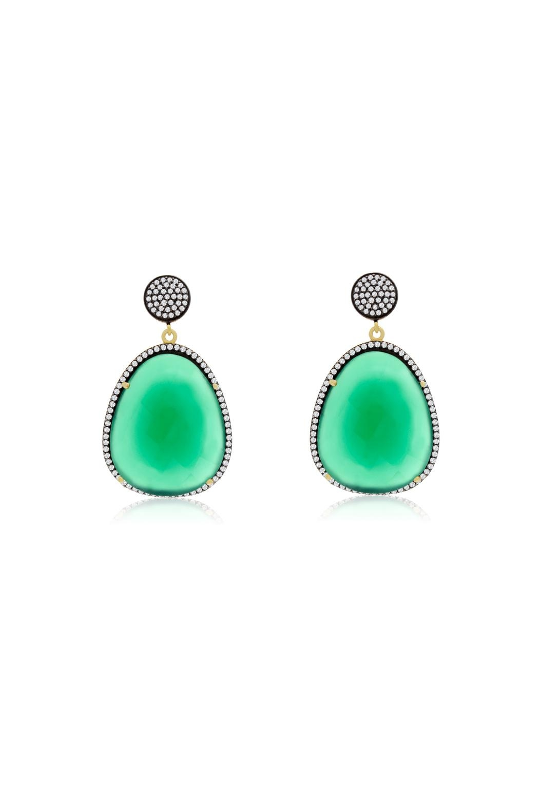 6th Borough Boutique Emerald Gemma Earrings - Front Full Image