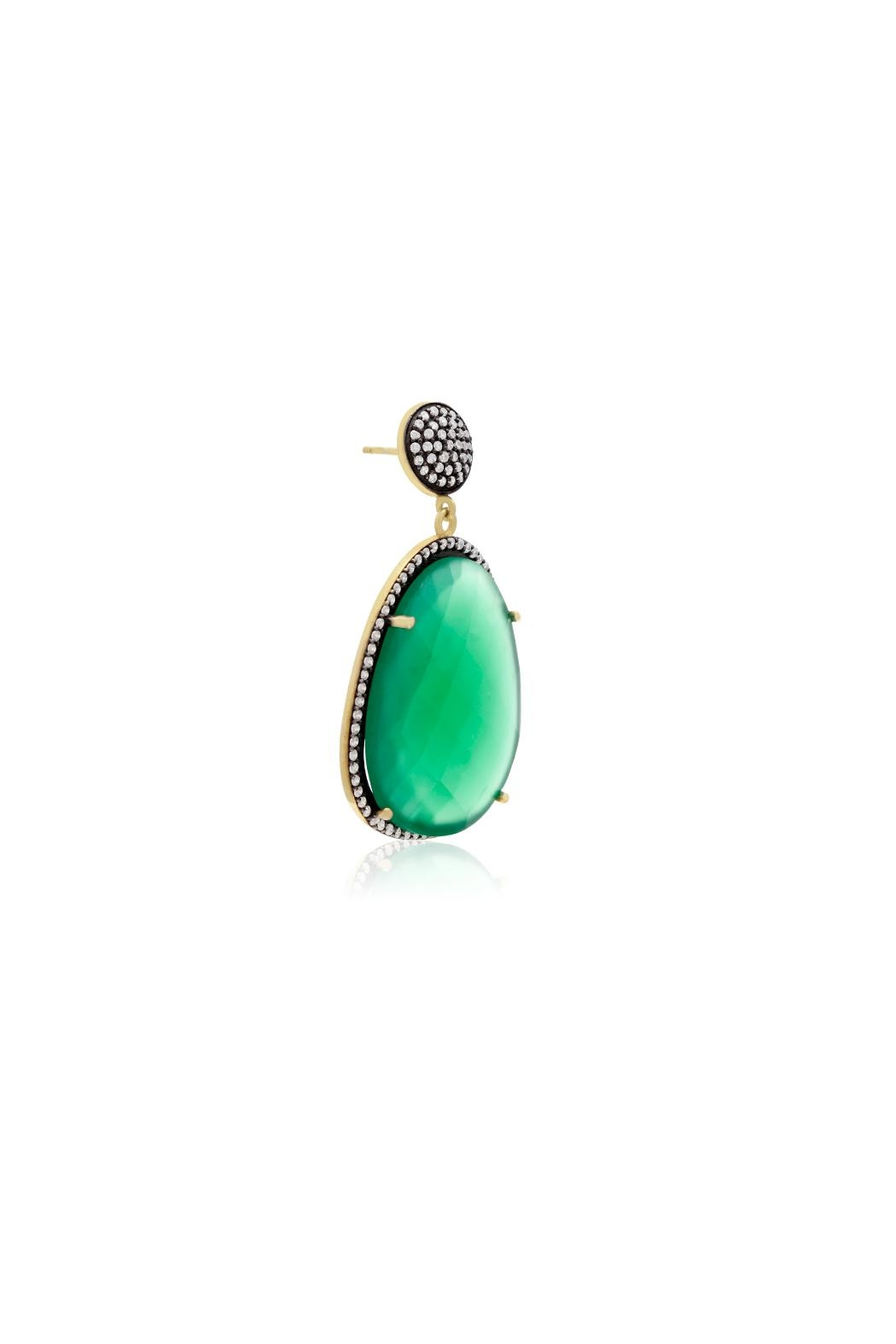 6th Borough Boutique Emerald Gemma Earrings - Side Cropped Image