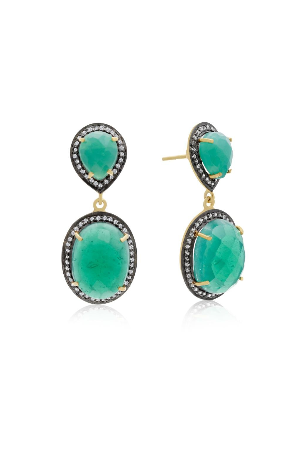 6th Borough Boutique Emerald Sia Earrings - Front Cropped Image
