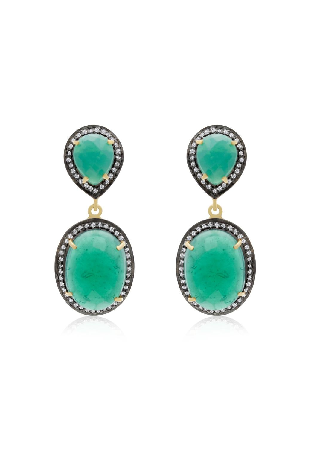 6th Borough Boutique Emerald Sia Earrings - Front Full Image