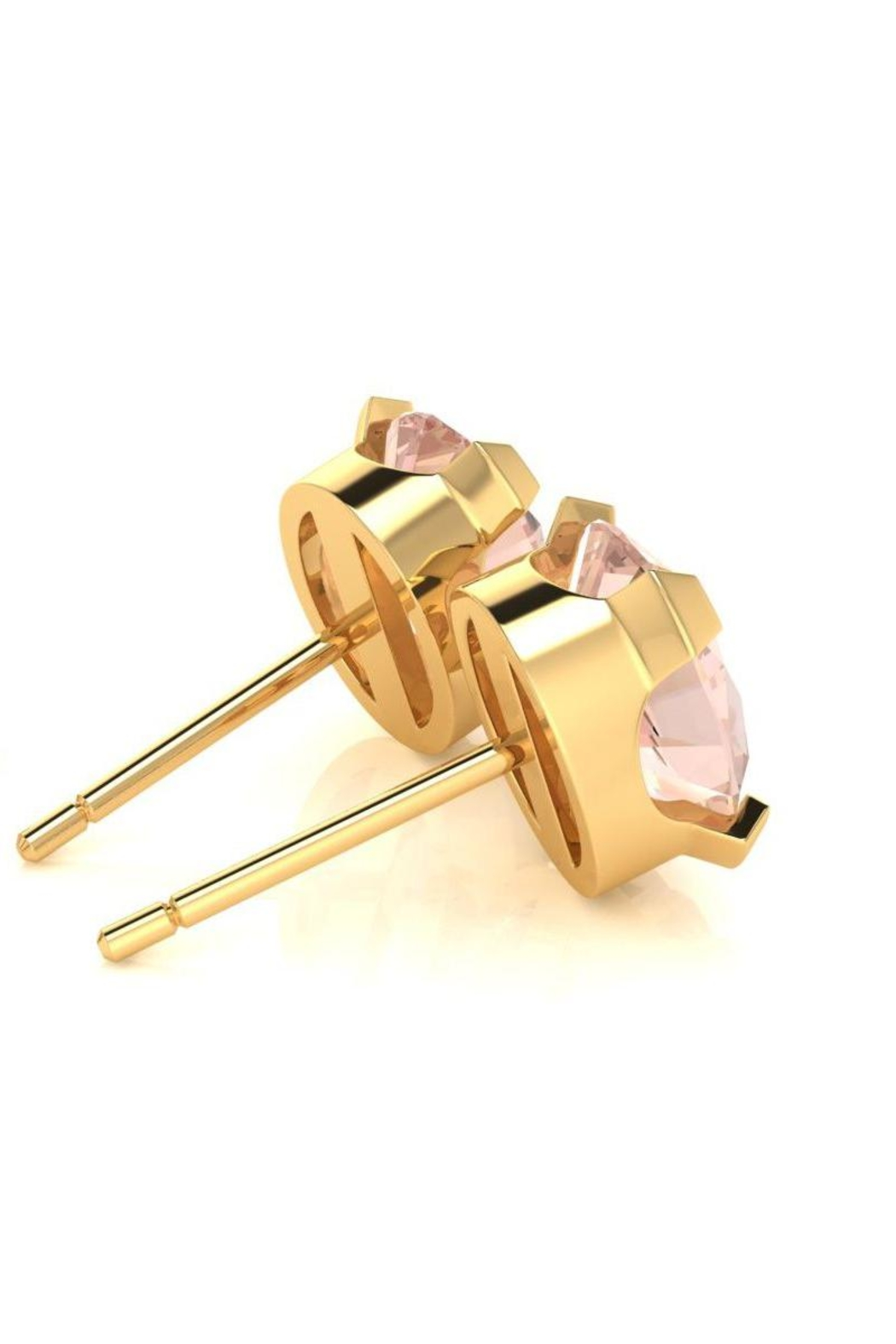6th Borough Boutique Gold Morganite Studs - Side Cropped Image