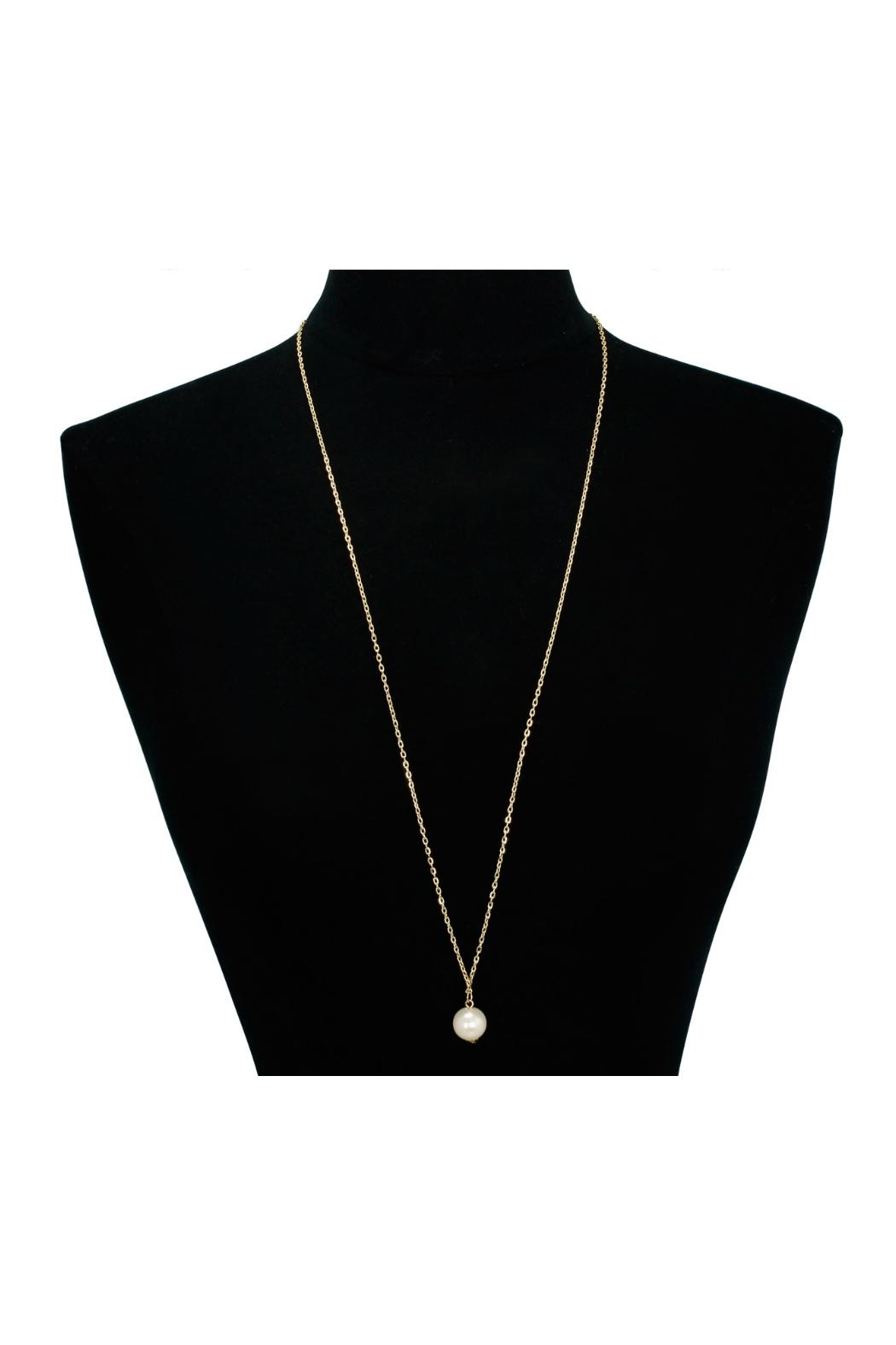6th Borough Boutique Gold Pearl Necklace - Side Cropped Image