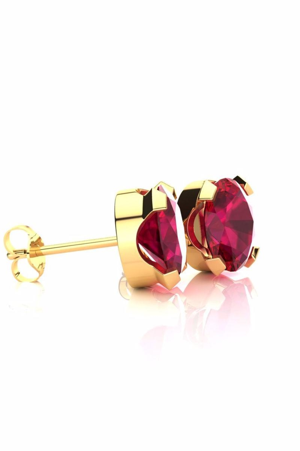 6th Borough Boutique Gold Ruby Studs - Front Full Image