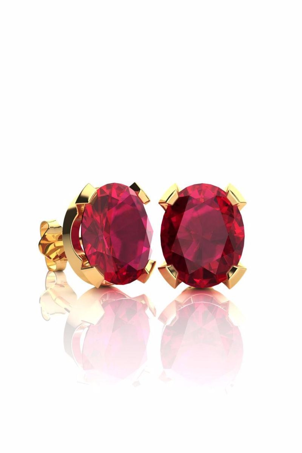 6th Borough Boutique Gold Ruby Studs - Main Image
