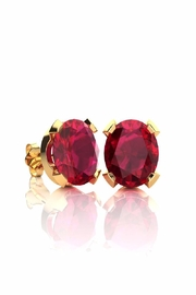 6th Borough Boutique Gold Ruby Studs - Front cropped