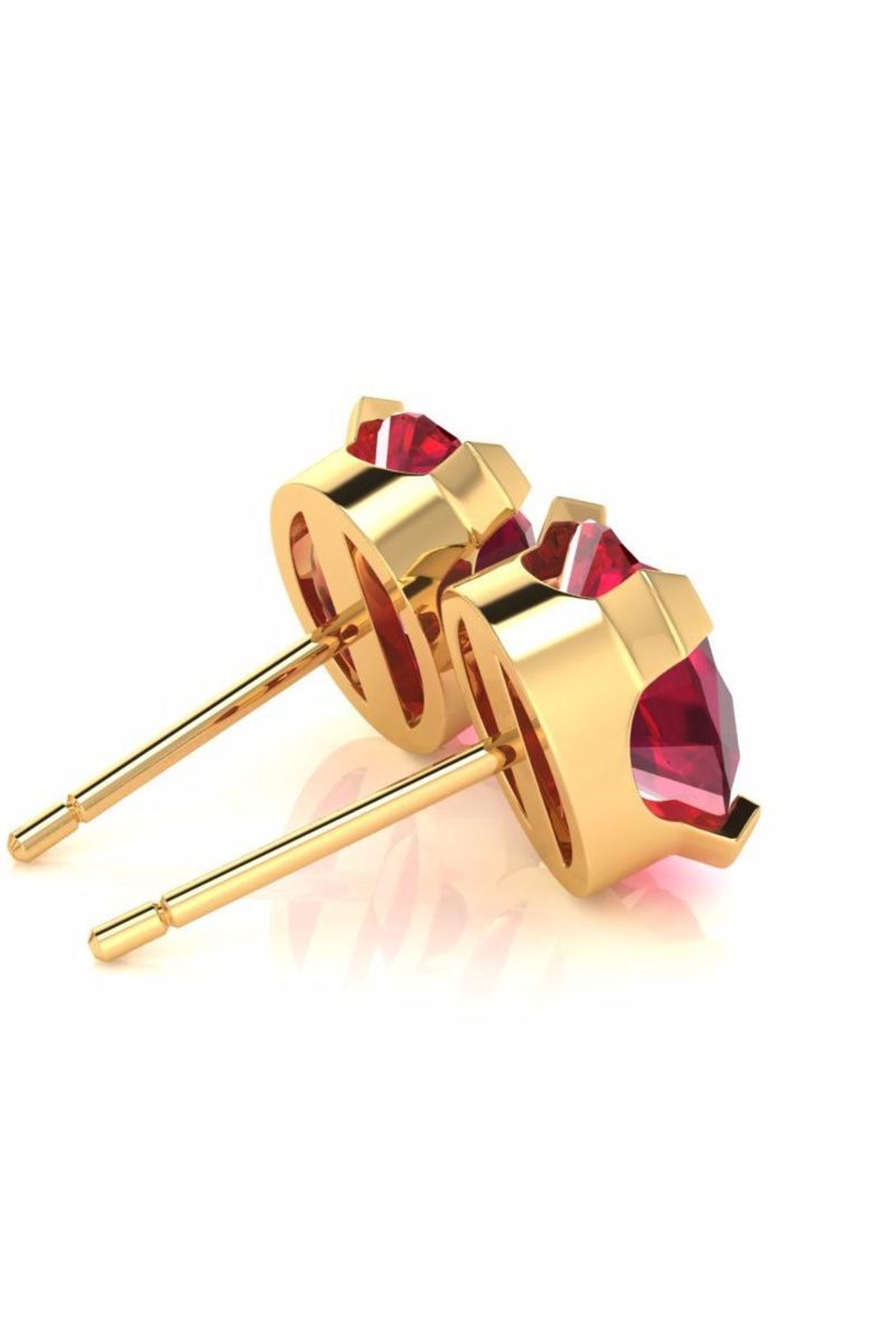 6th Borough Boutique Gold Ruby Studs - Side Cropped Image