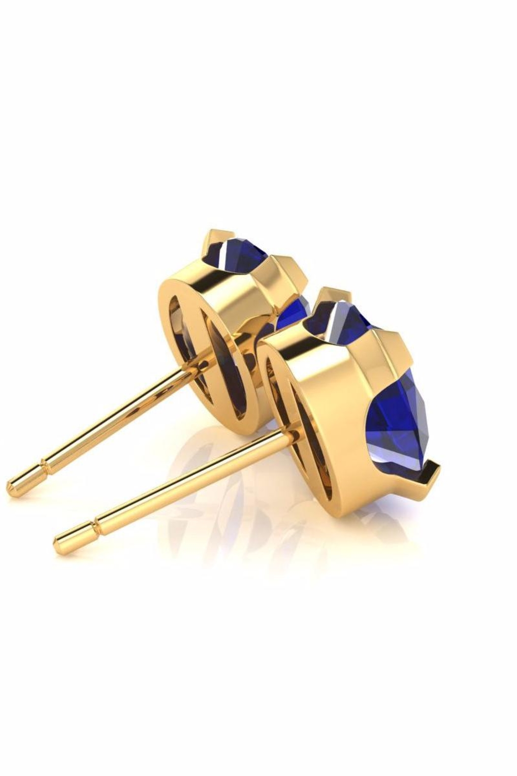 6th Borough Boutique Gold Sapphire Studs - Side Cropped Image