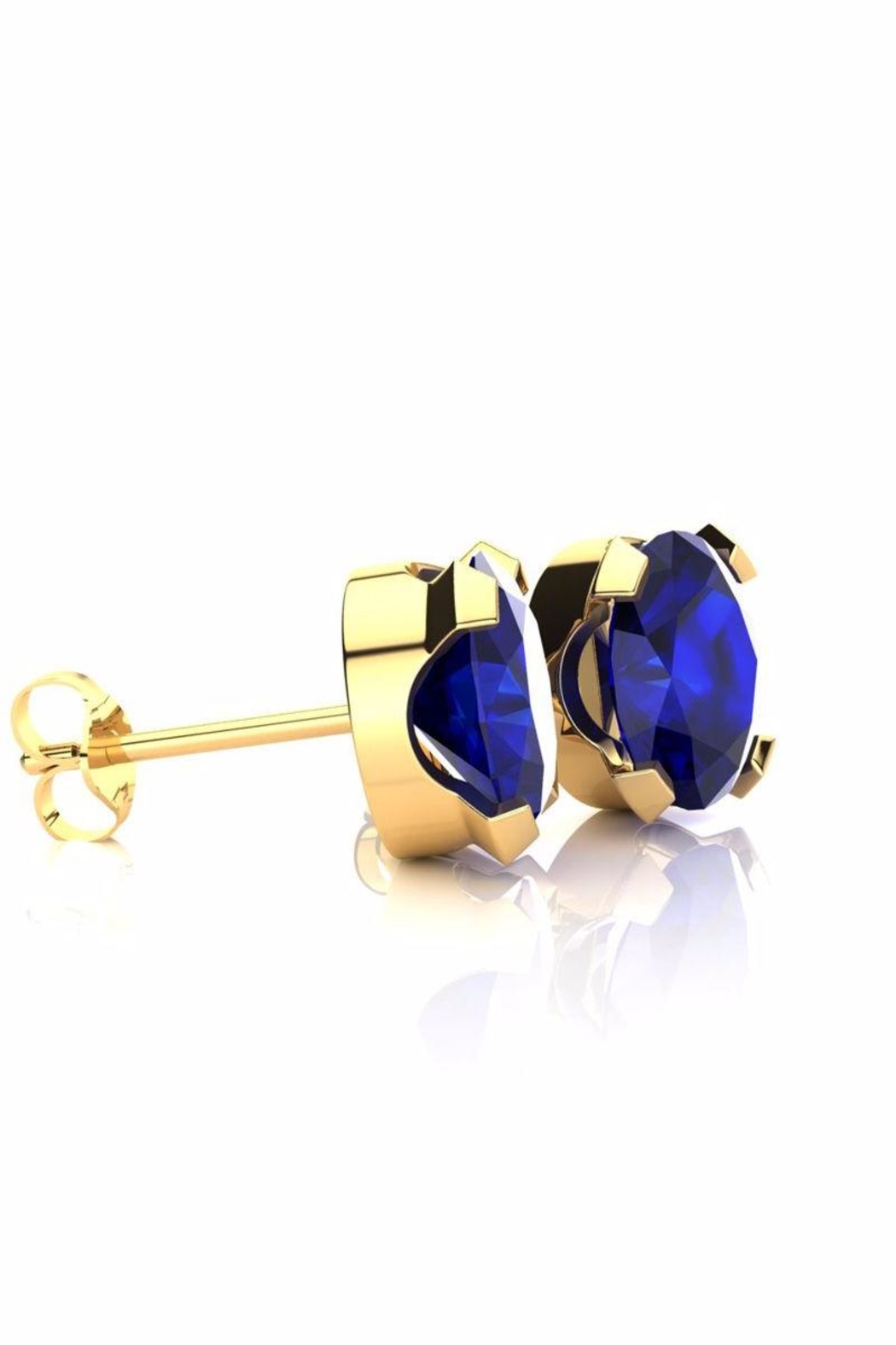 6th Borough Boutique Gold Sapphire Studs - Front Full Image