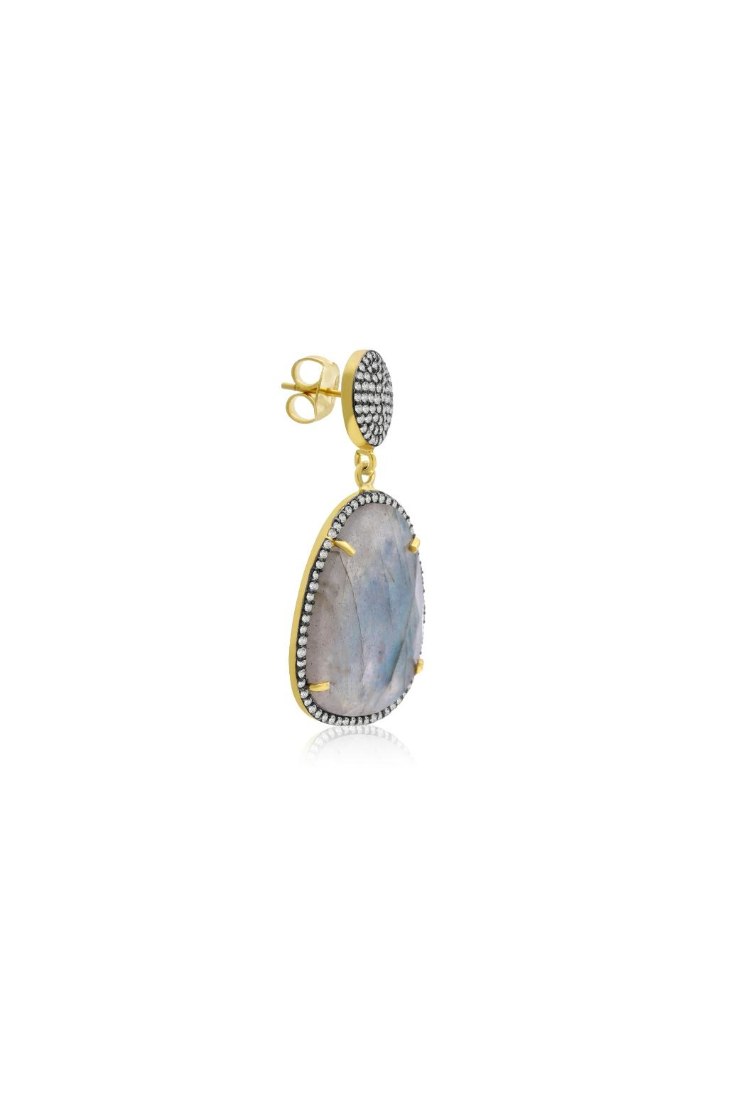 6th Borough Boutique Labradorite Gemma Earrings - Back Cropped Image