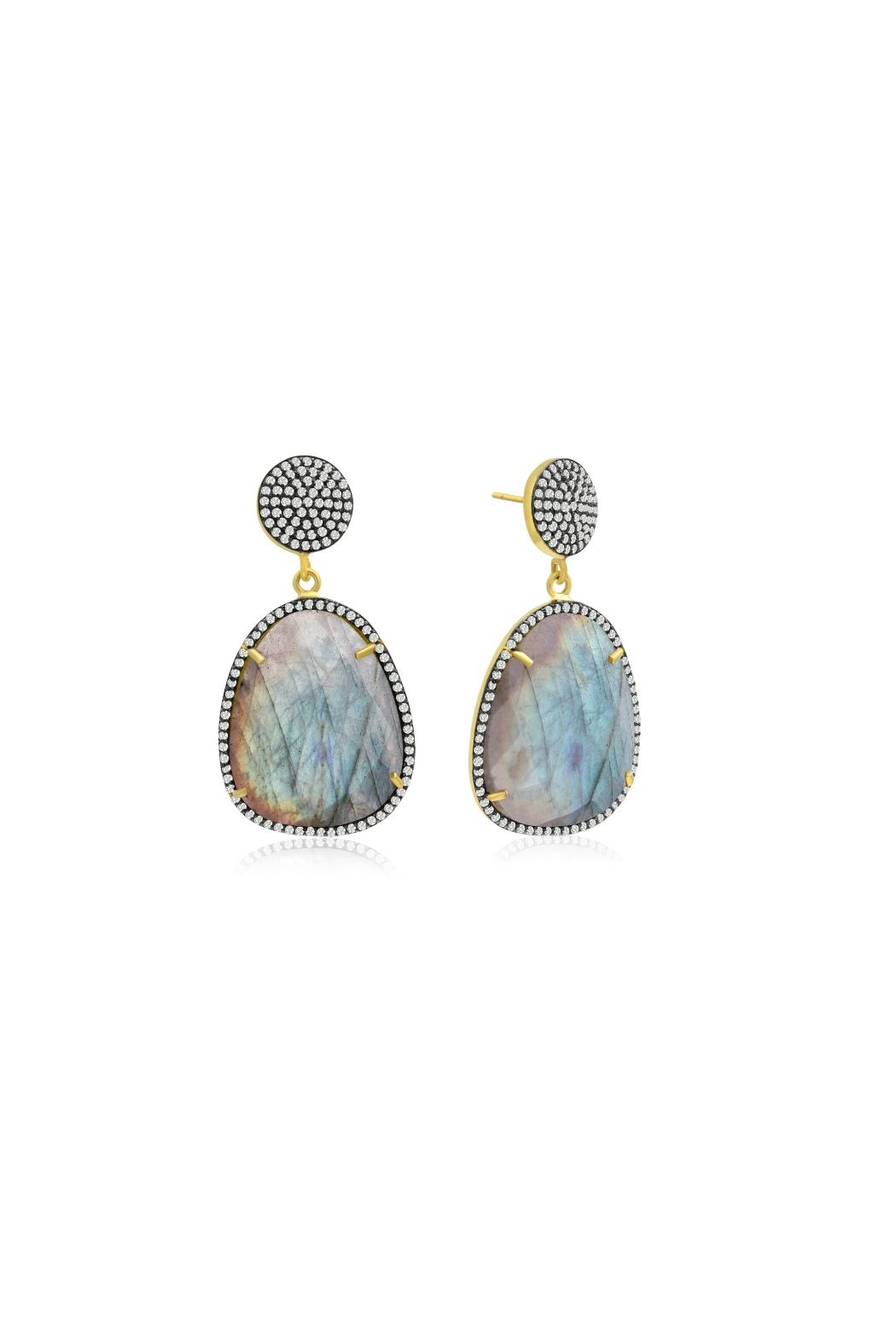 6th Borough Boutique Labradorite Gemma Earrings - Front Full Image