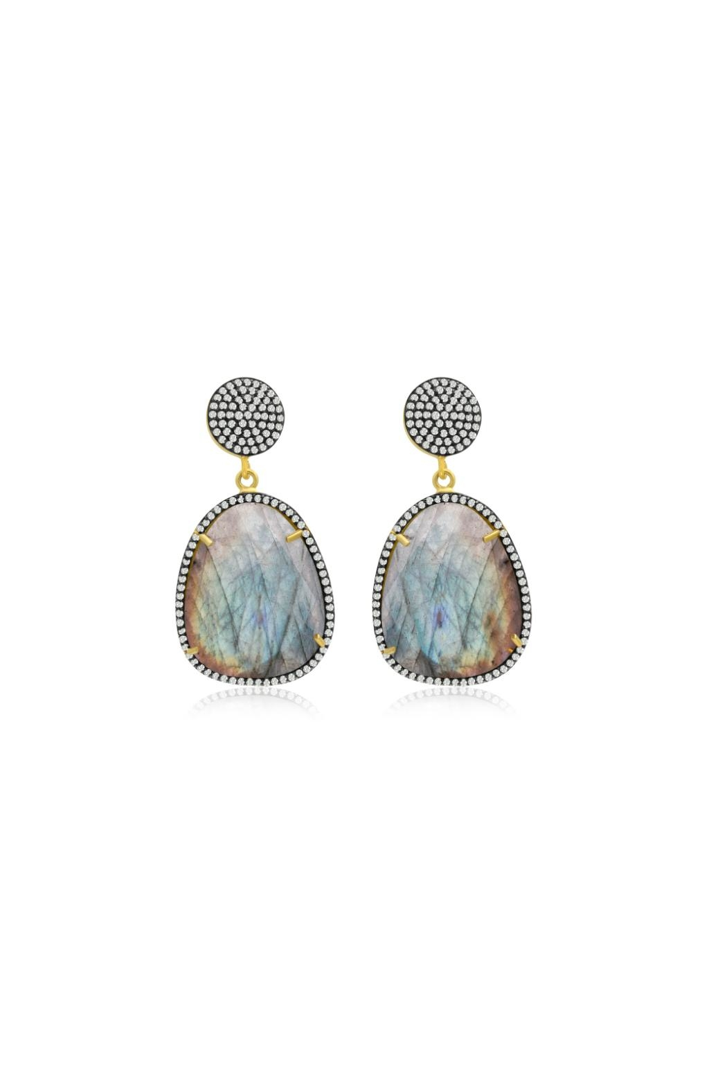 6th Borough Boutique Labradorite Gemma Earrings - Front Cropped Image