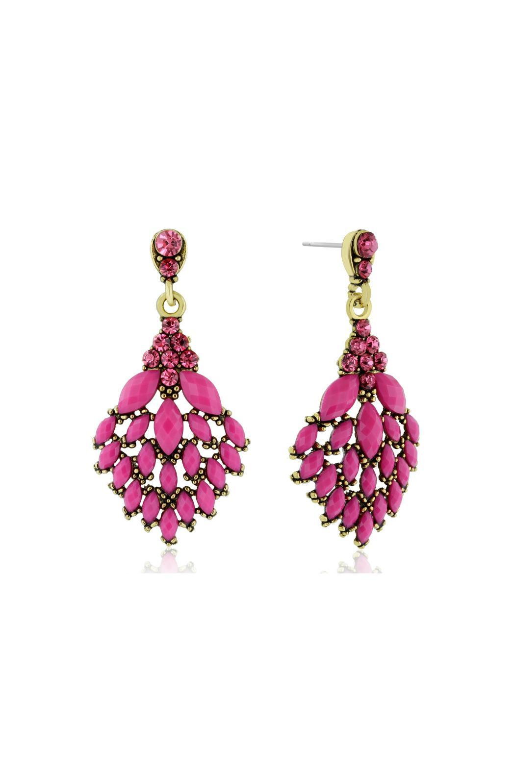 6th Borough Boutique Magenta Crystal Earrings - Front Full Image