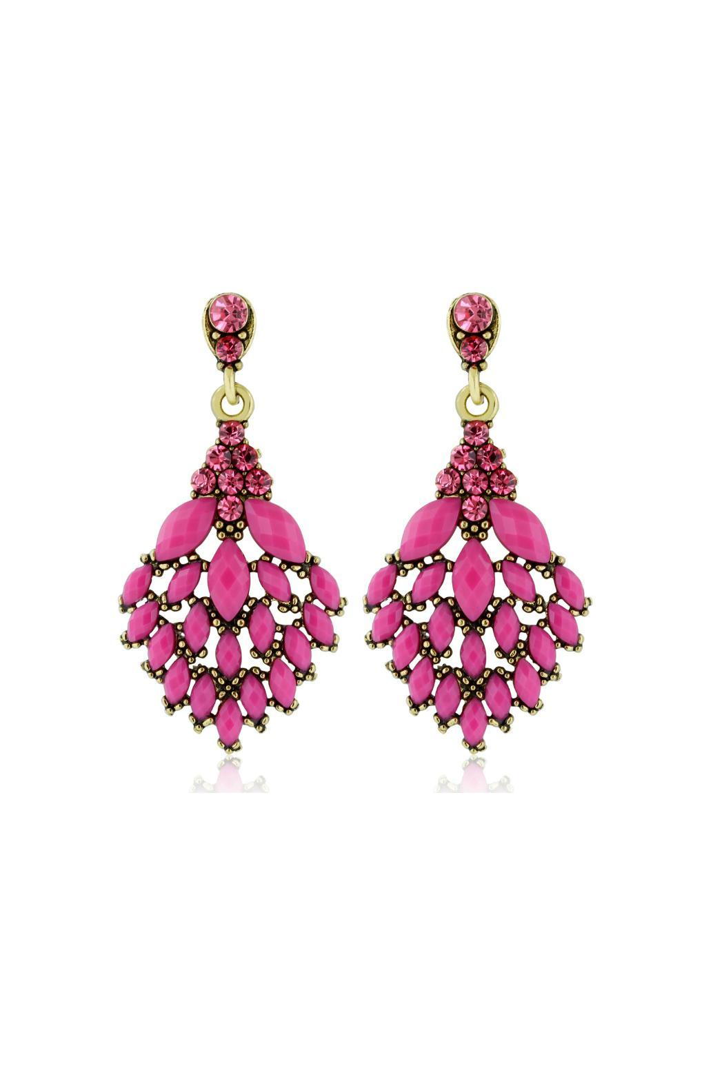 6th Borough Boutique Magenta Crystal Earrings - Main Image