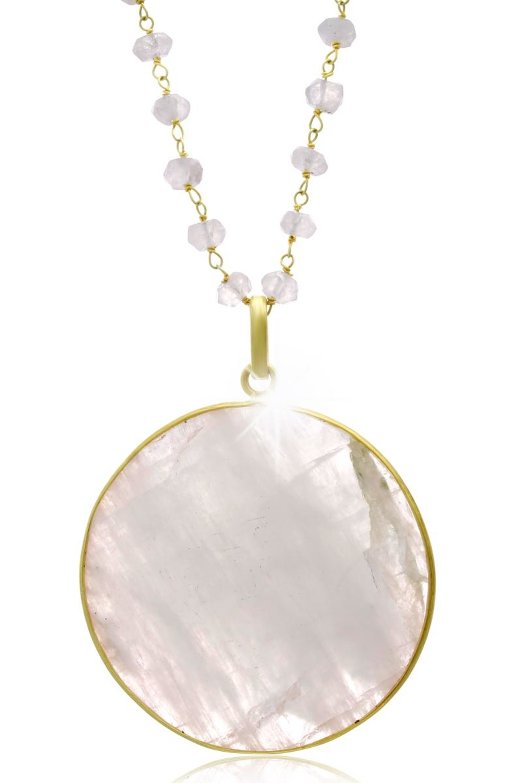 6th Borough Boutique Moonstone Disc Necklace - Front Full Image