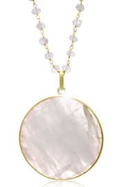 6th Borough Boutique Moonstone Disc Necklace - Front full body