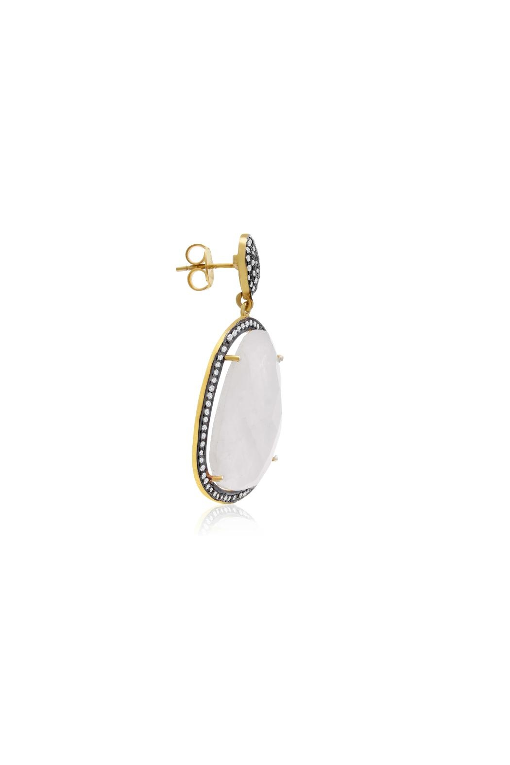 6th Borough Boutique Moonstone Gemma Earrings - Back Cropped Image