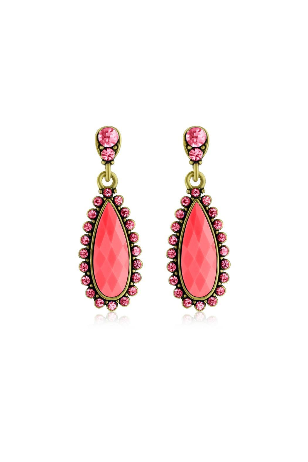 6th Borough Boutique Pink Pear Earrings - Main Image