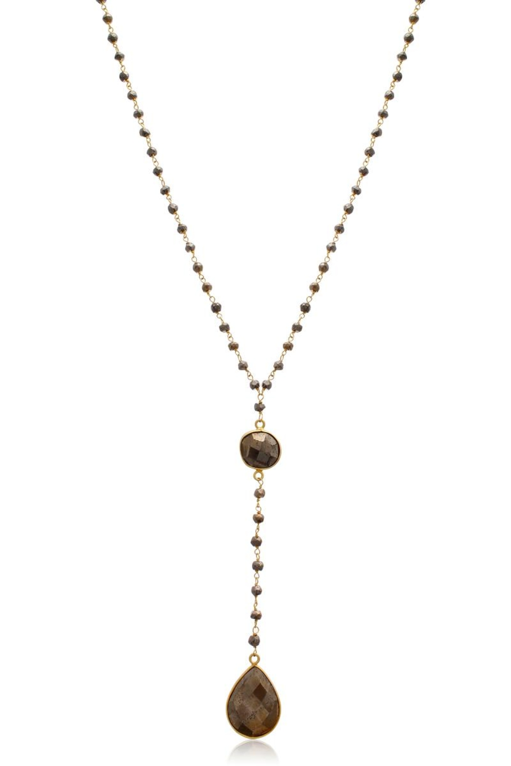 6th Borough Boutique Pyrite Lariat Necklace - Front Full Image
