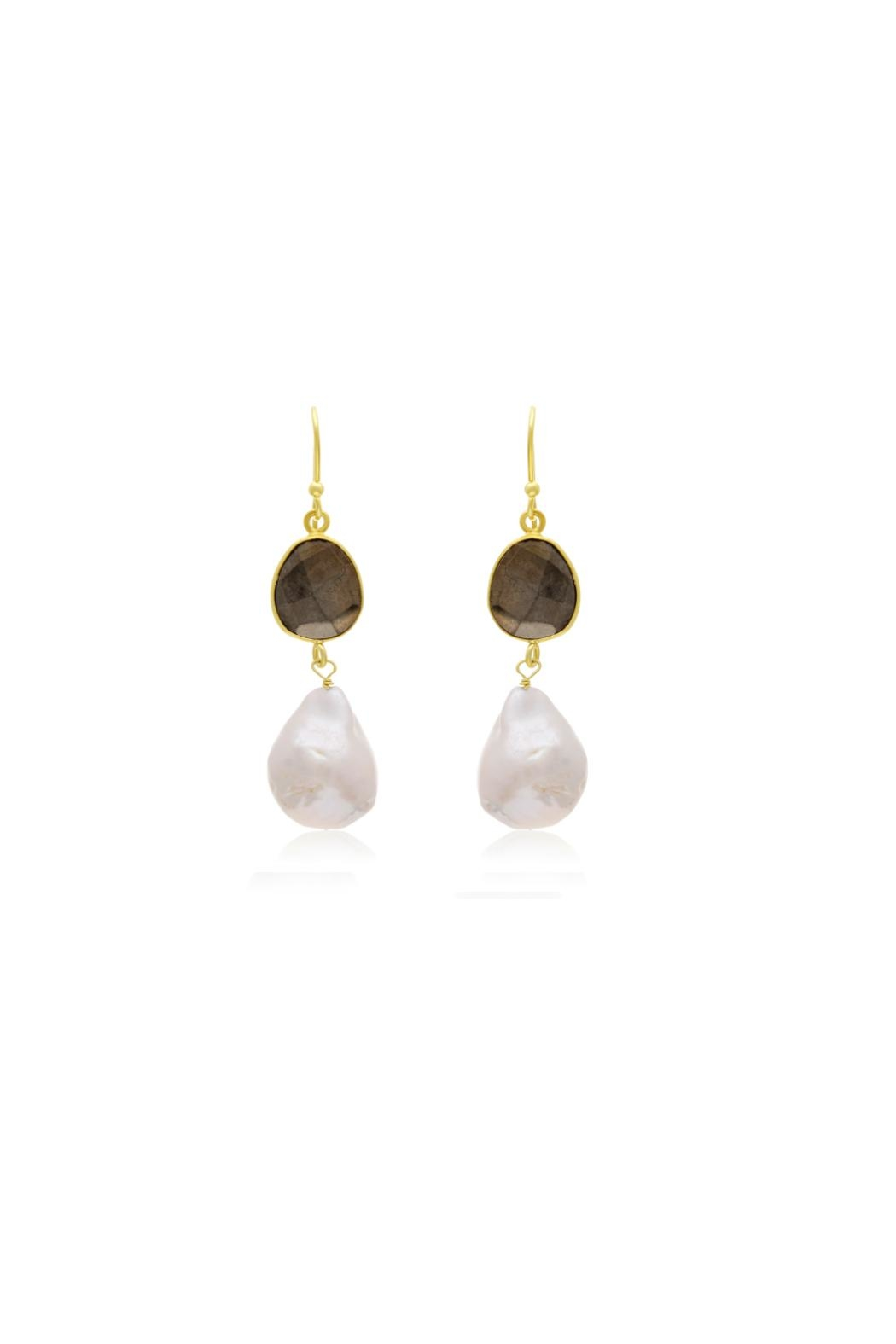 6th Borough Boutique Pyrite Michelle Earrings - Side Cropped Image
