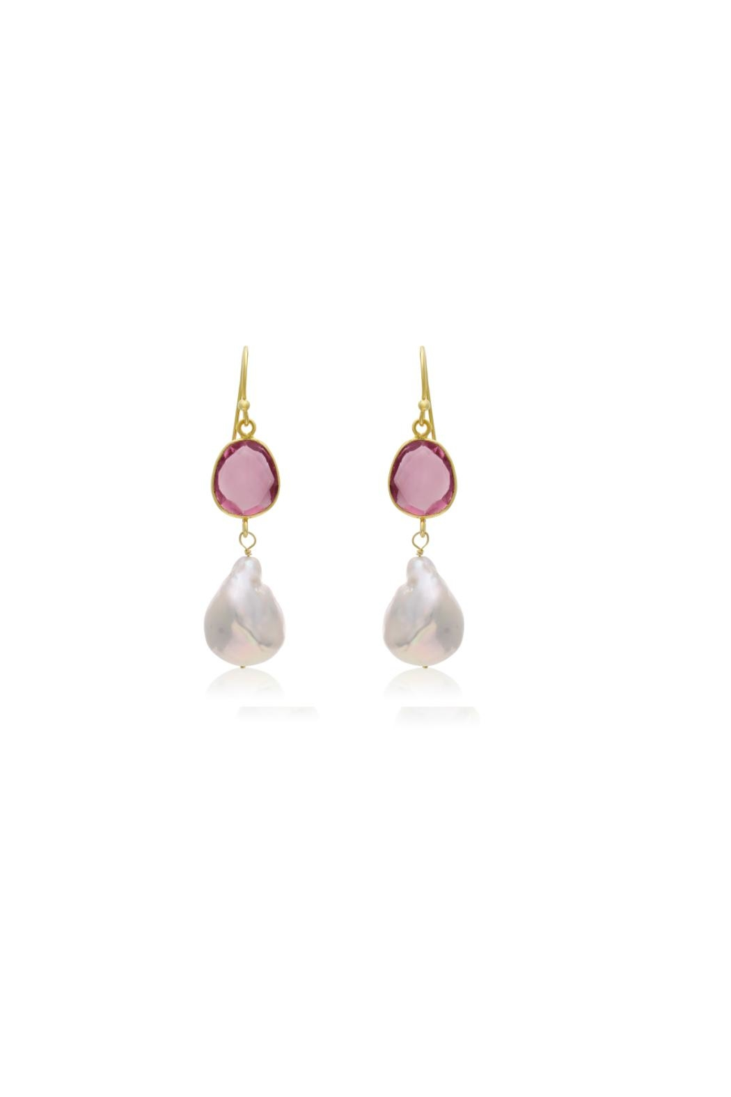 6th Borough Boutique Raspberry Michelle Earrings - Side Cropped Image