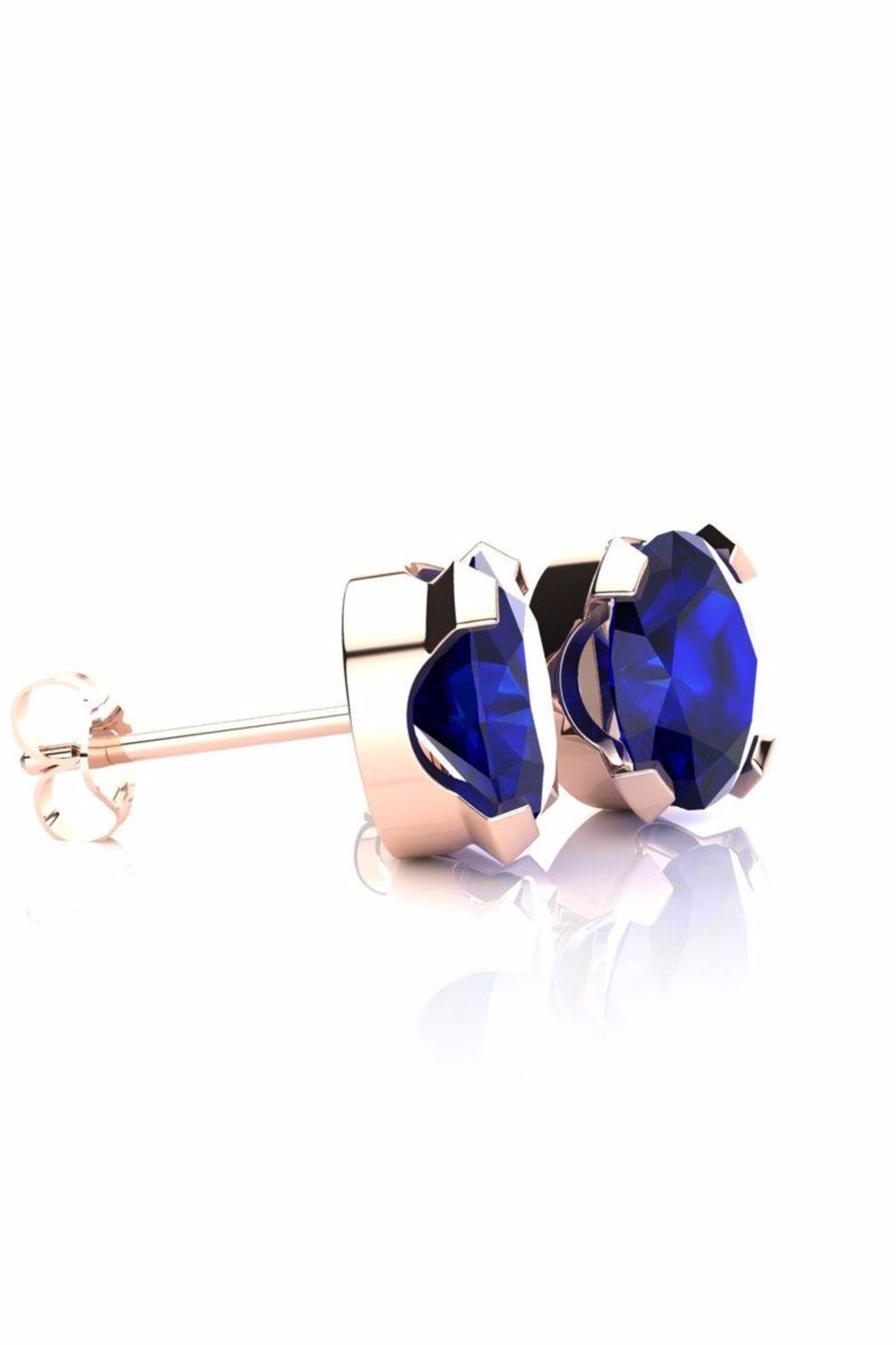 6th Borough Boutique Rose Sapphire Stud Earrings - Front Full Image