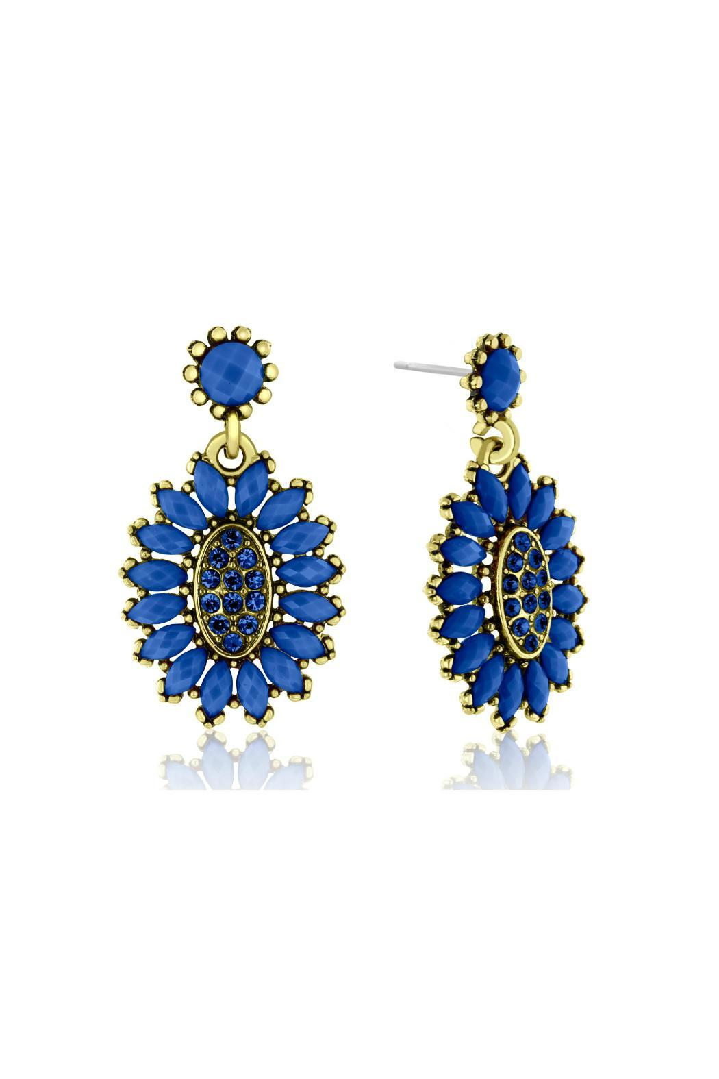 6th Borough Boutique Royal Crystal Earrings - Front Full Image