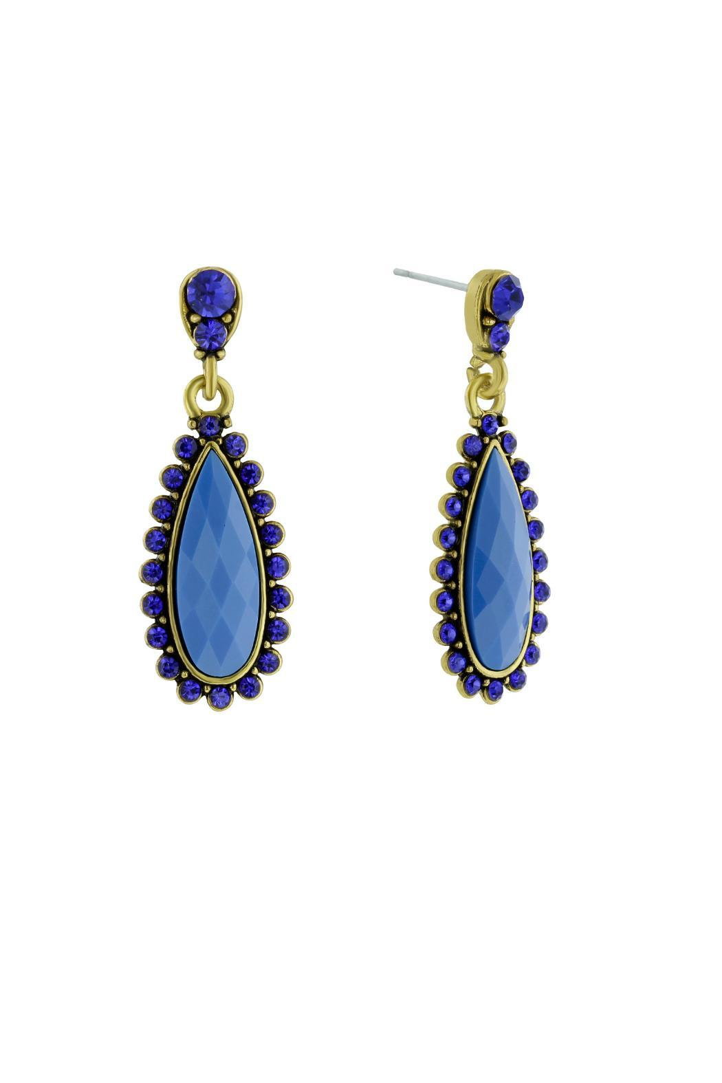 6th Borough Boutique Royal Pear Earrings - Front Full Image