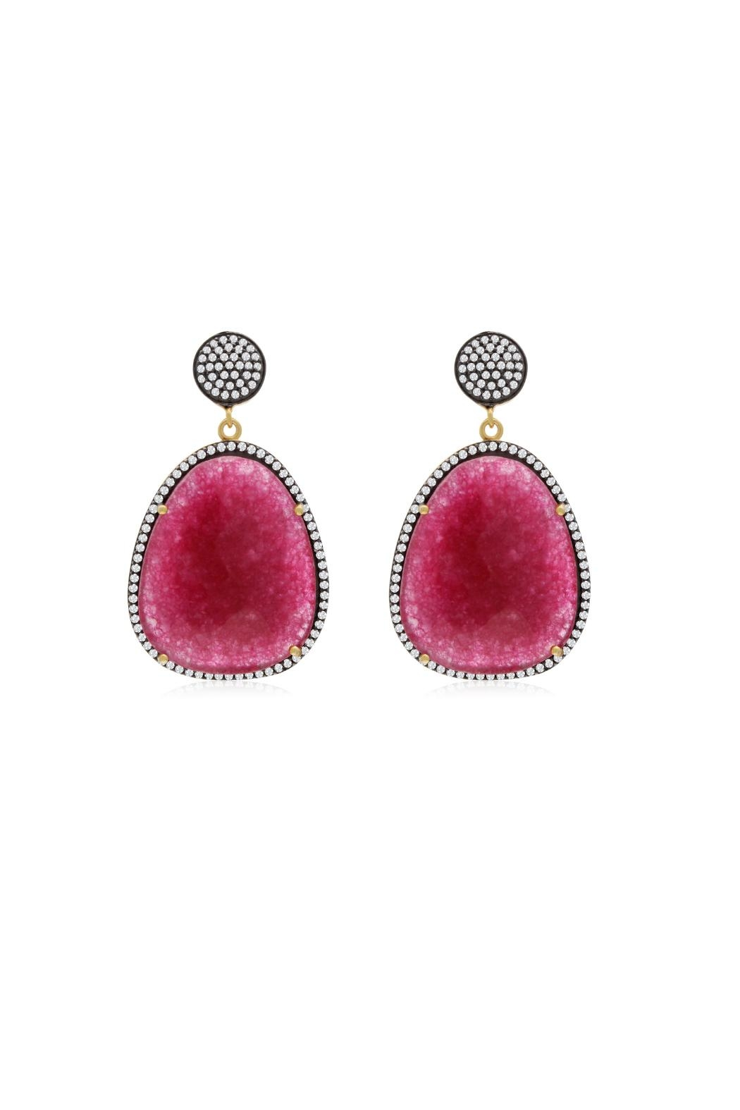 6th Borough Boutique Magenta Gemma Earrings - Front Full Image