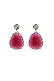 6th Borough Boutique Magenta Gemma Earrings - Front full body