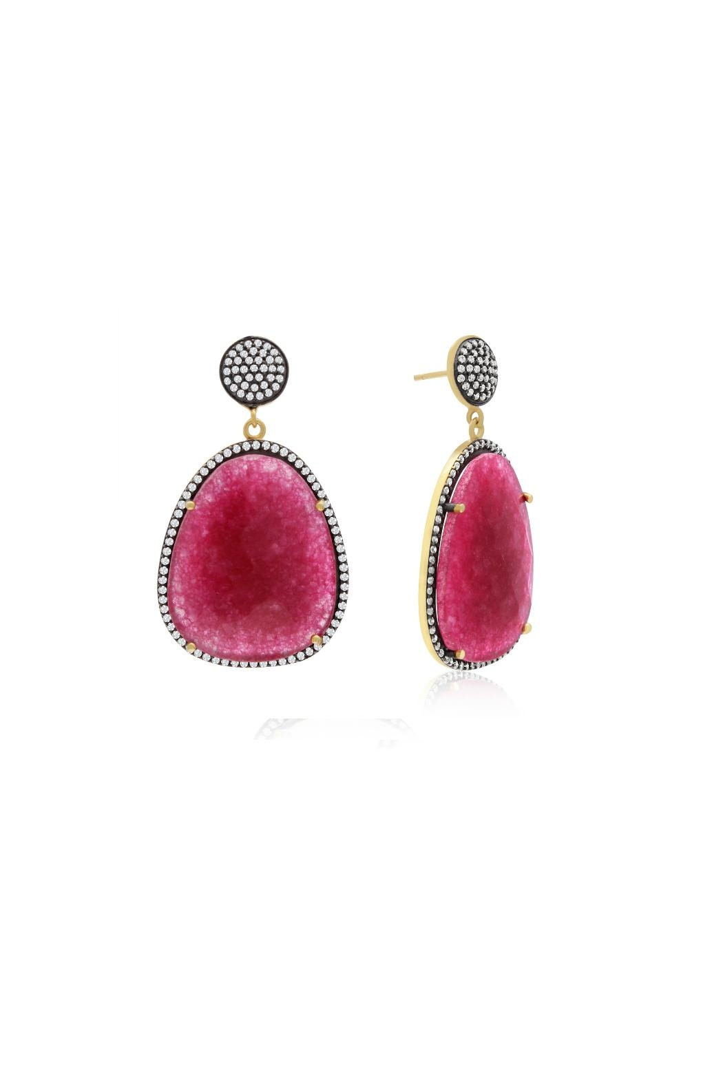 6th Borough Boutique Magenta Gemma Earrings - Main Image
