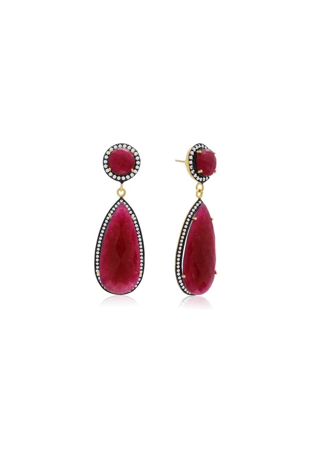 6th Borough Boutique Ruby Tina Earrings - Front Cropped Image