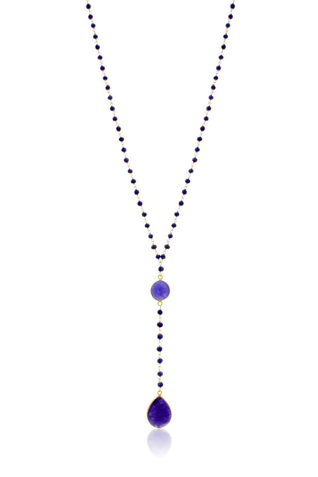 6th Borough Boutique Sapphire Lariat Necklace - Front Full Image