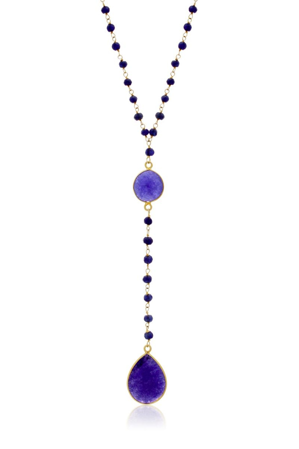 6th Borough Boutique Sapphire Lariat Necklace - Front Cropped Image