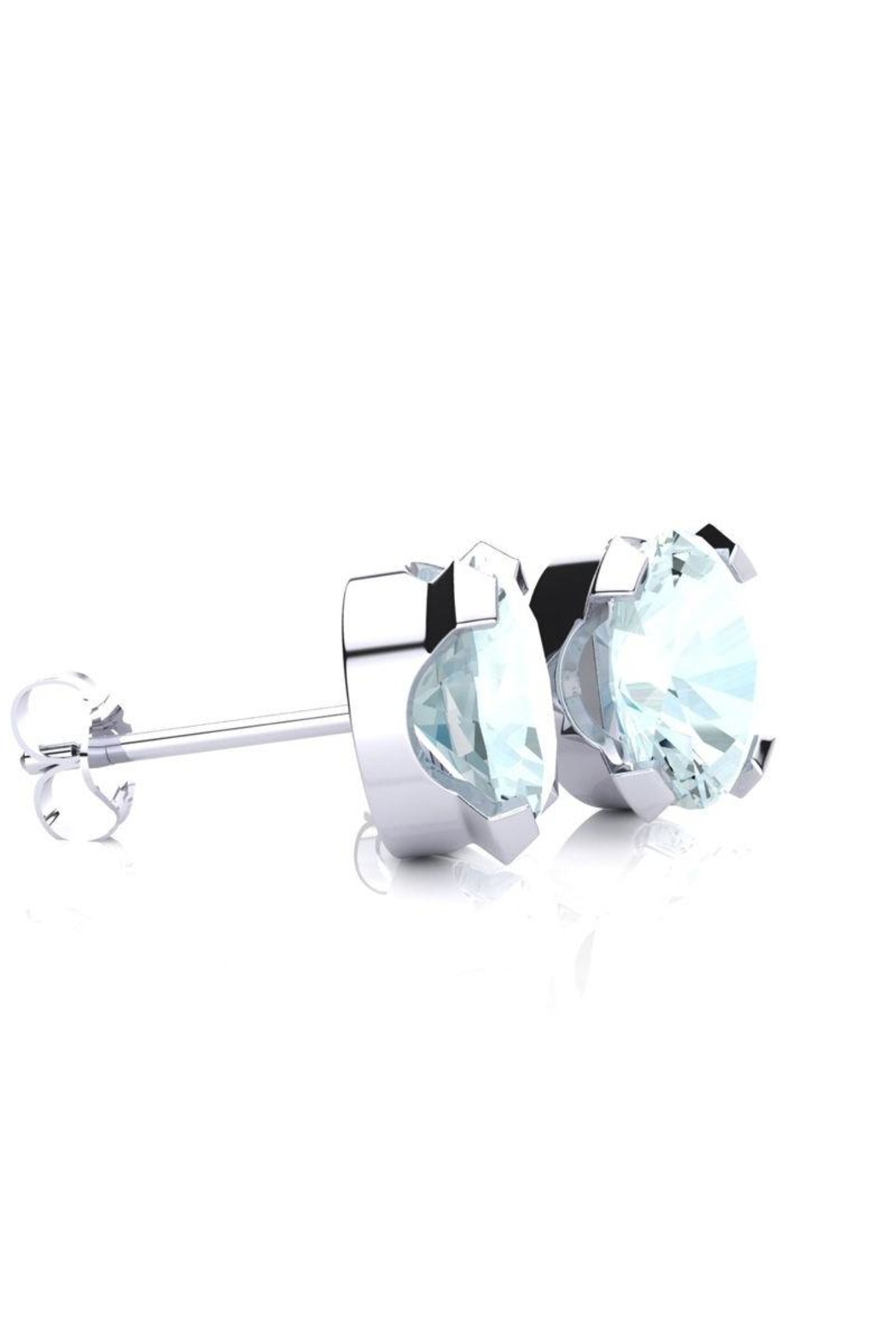 6th Borough Boutique Silver Aquamarine Studs - Front Full Image