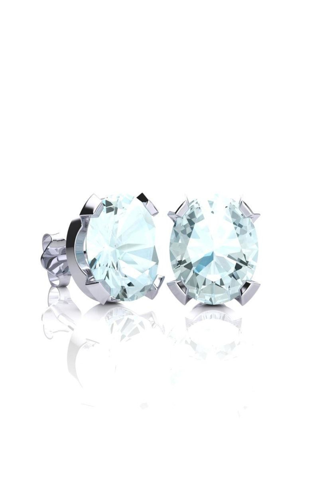 6th Borough Boutique Silver Aquamarine Studs - Main Image