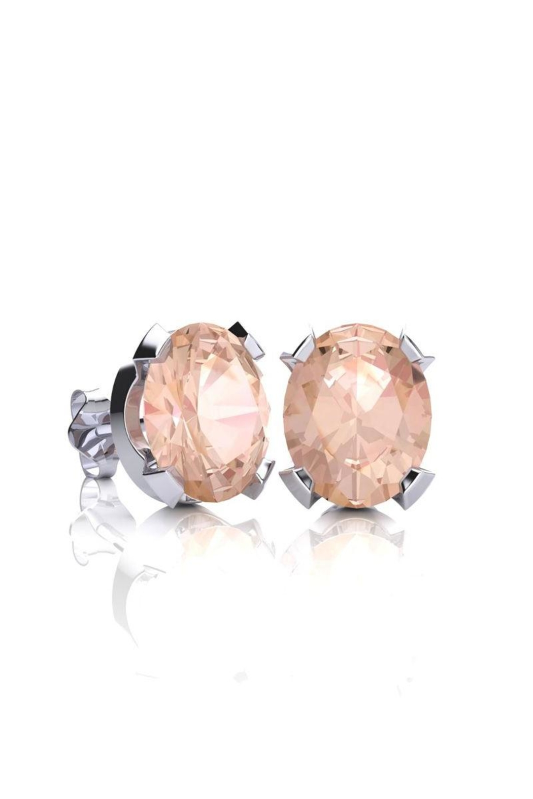 stud gold rose rondels halo diamond earrings products morganite with