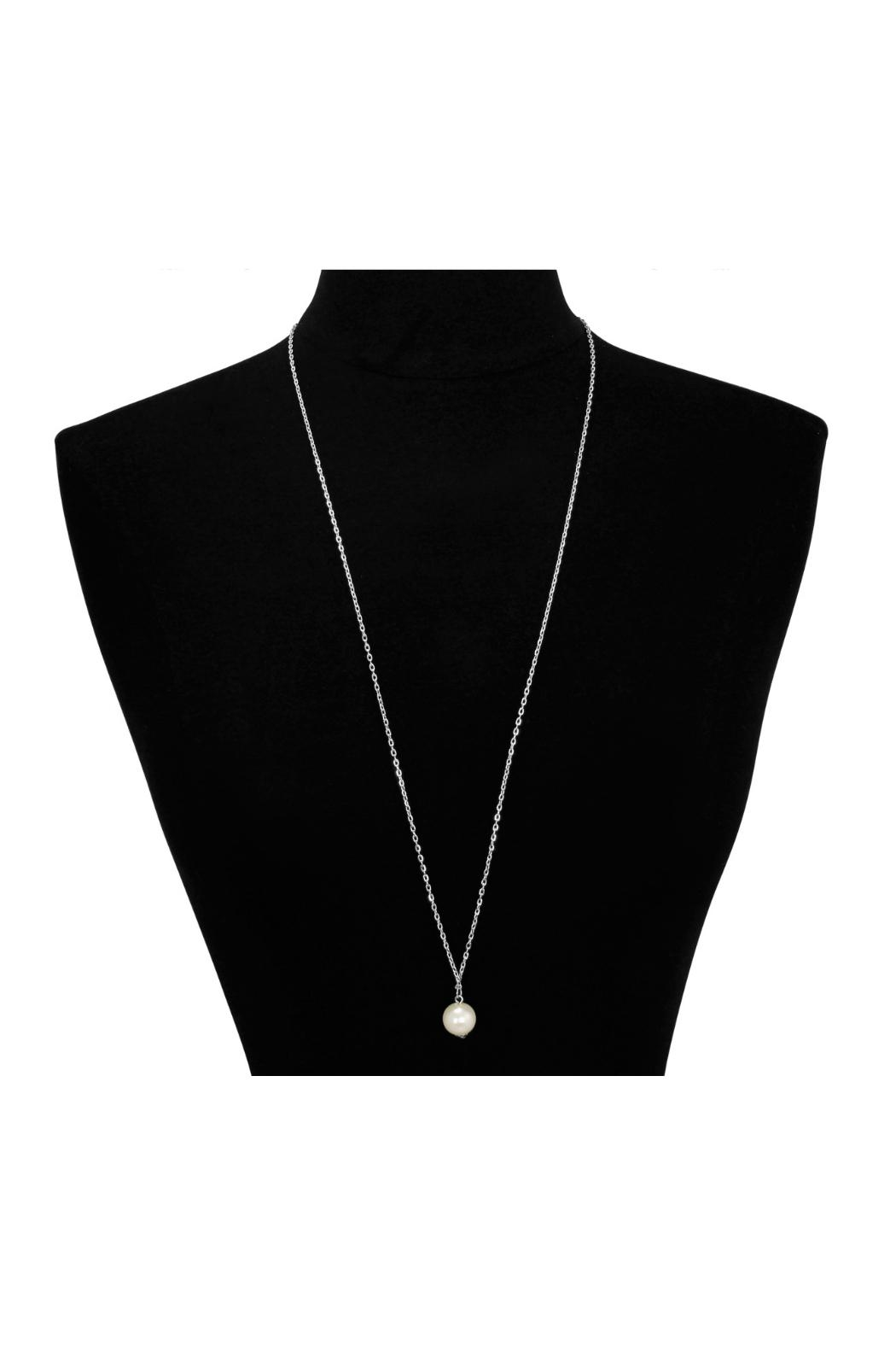 6th Borough Boutique Silver Pearl Necklace - Side Cropped Image