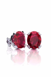 6th Borough Boutique Silver Ruby Studs - Front cropped