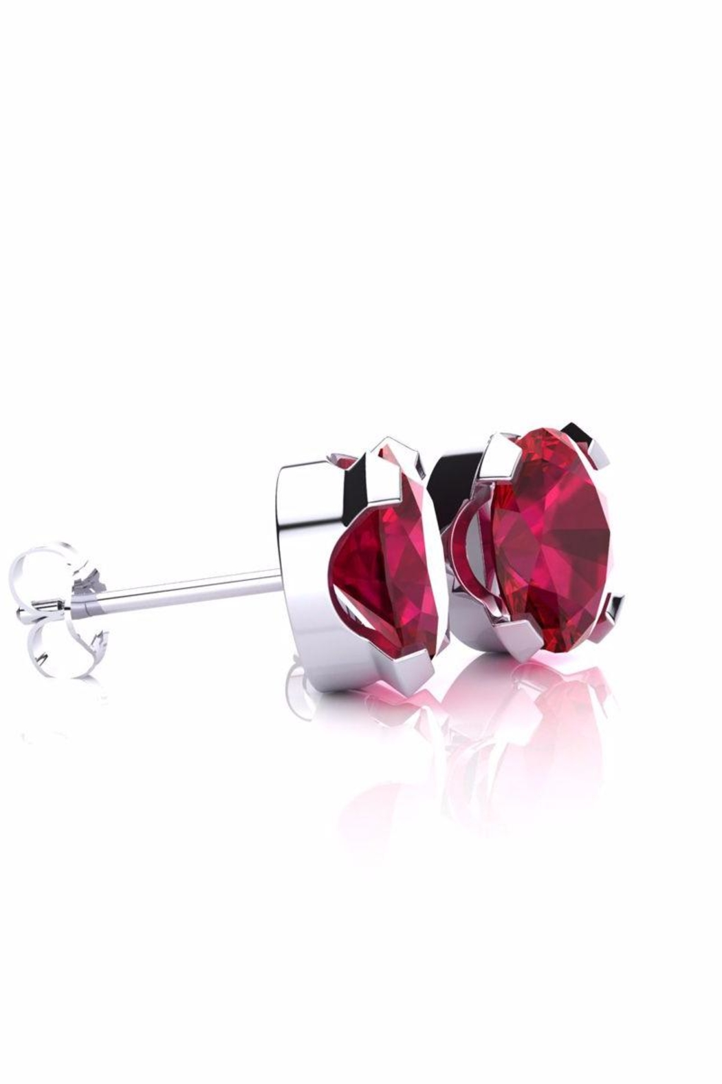 6th Borough Boutique Silver Ruby Studs - Front Full Image