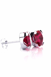 6th Borough Boutique Silver Ruby Studs - Front full body