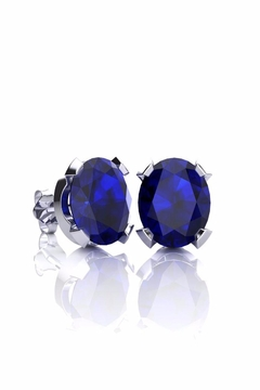 6th Borough Boutique Silver Sapphire Studs - Product List Image