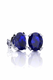 6th Borough Boutique Silver Sapphire Studs - Front cropped