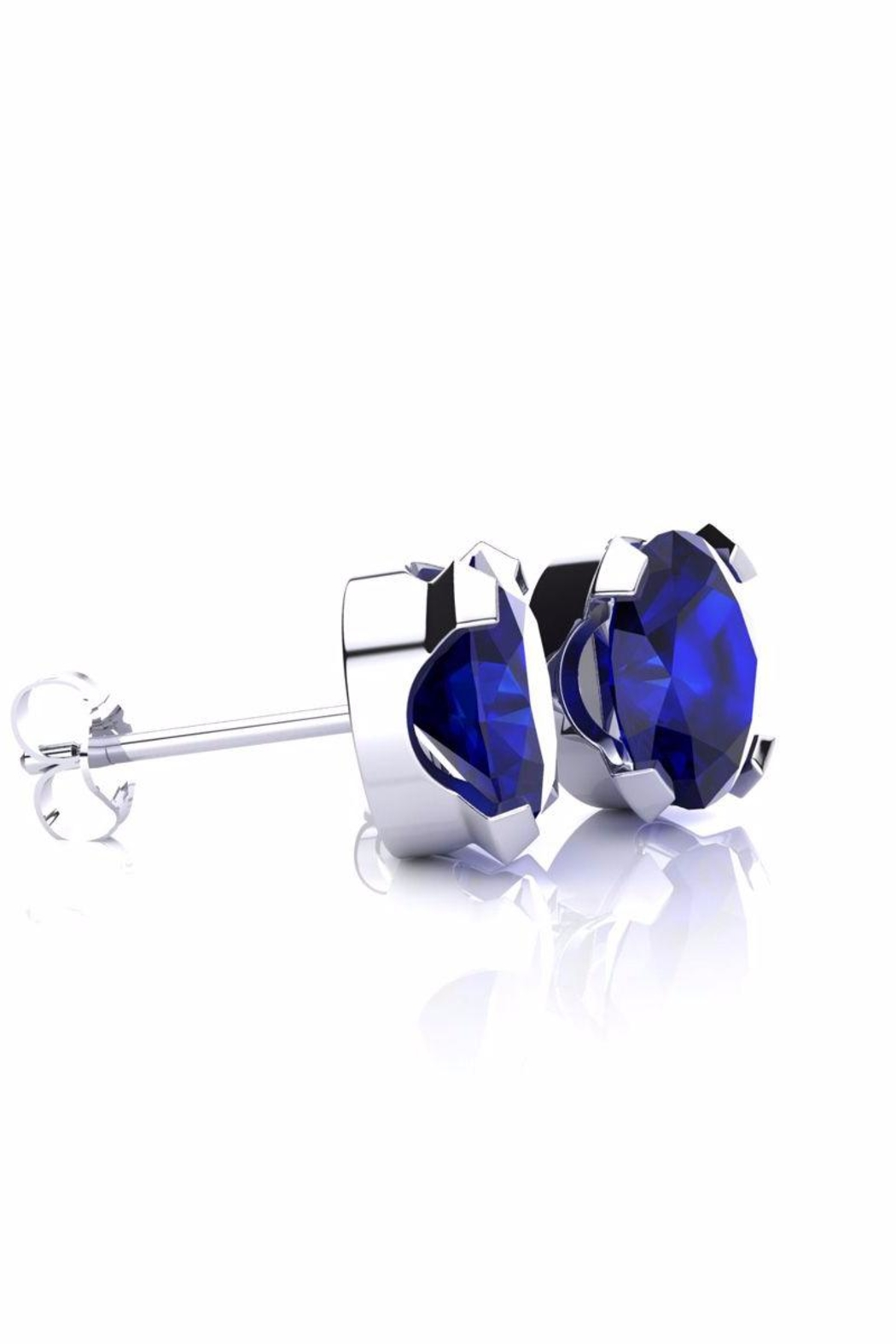 6th Borough Boutique Silver Sapphire Studs - Front Full Image