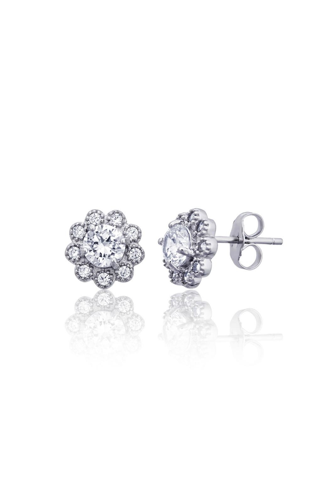 6th Borough Boutique Sterling Flower Studs - Front Full Image