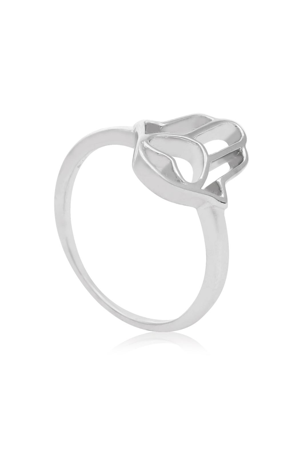 6th Borough Boutique Sterling Hamsa Ring - Side Cropped Image