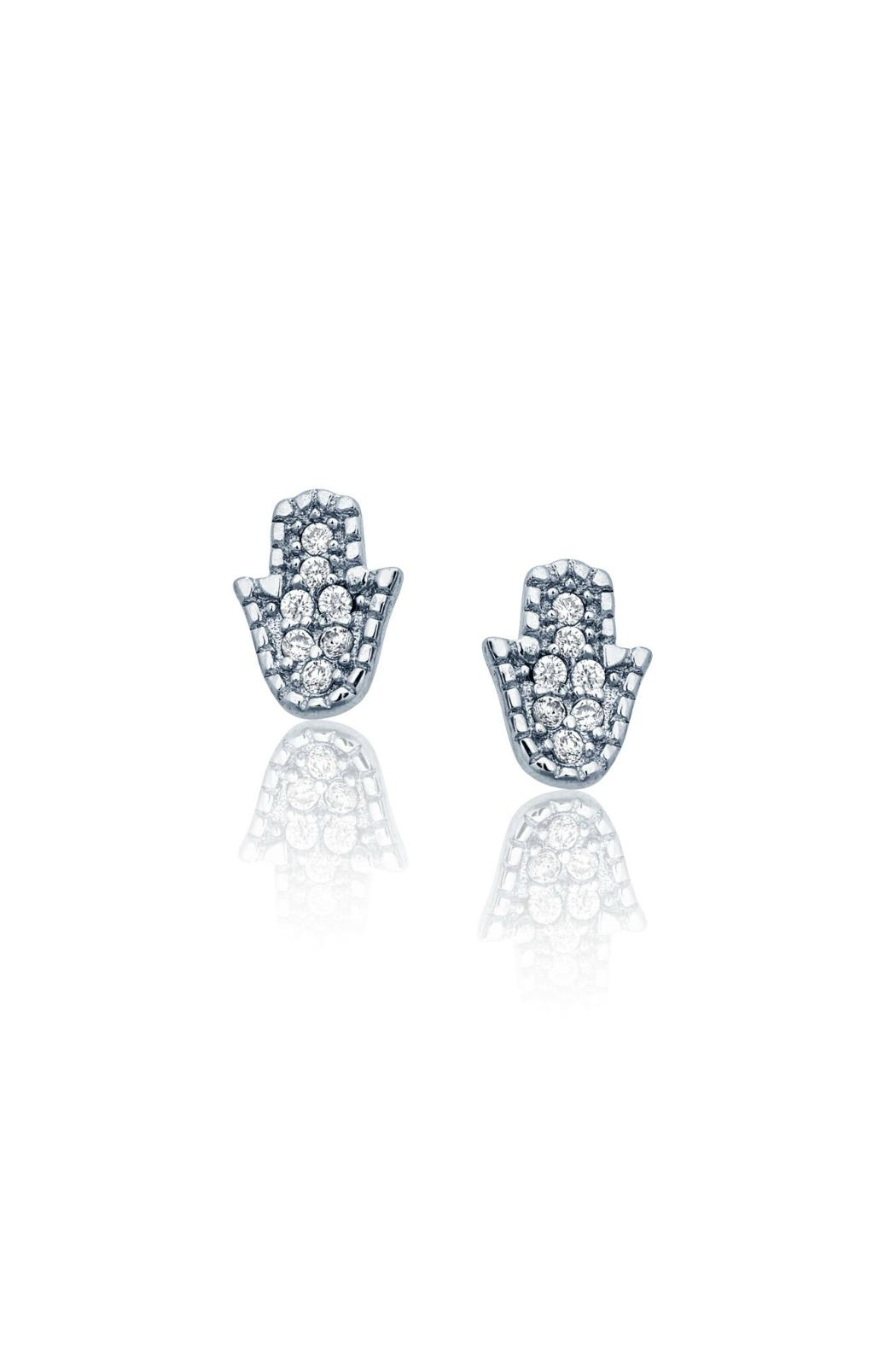 6th Borough Boutique Sterling Hamsa Studs - Front Cropped Image
