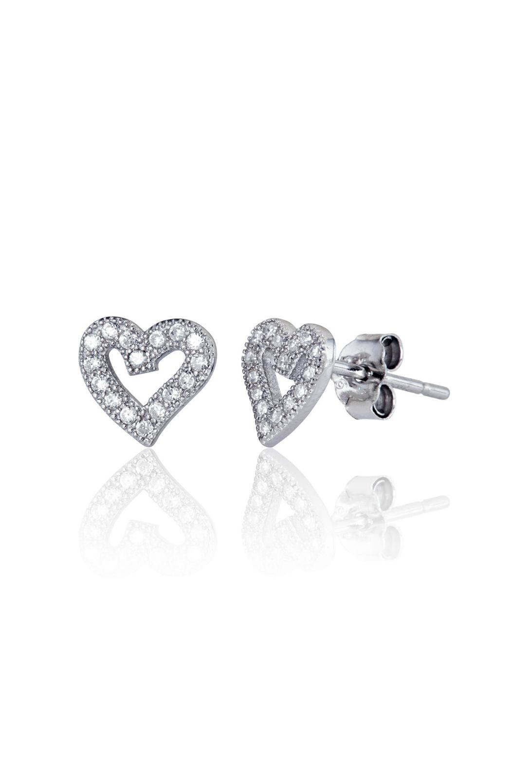 6th Borough Boutique Sterling Heart Studs - Front Full Image