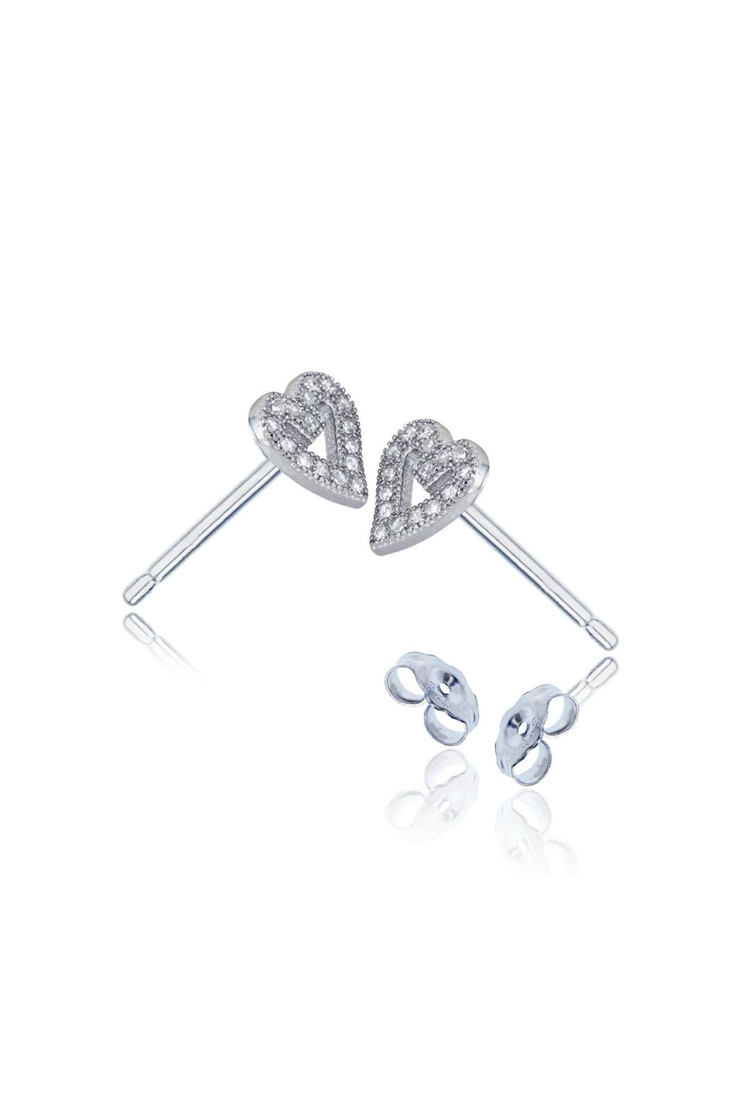 6th Borough Boutique Sterling Heart Studs - Side Cropped Image