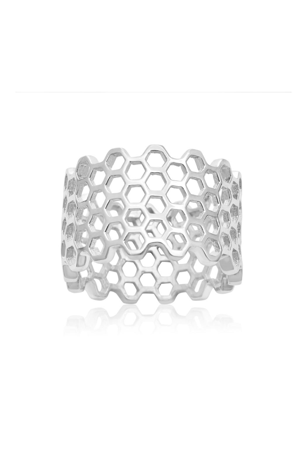 6th Borough Boutique Sterling Honeycomb Ring - Main Image